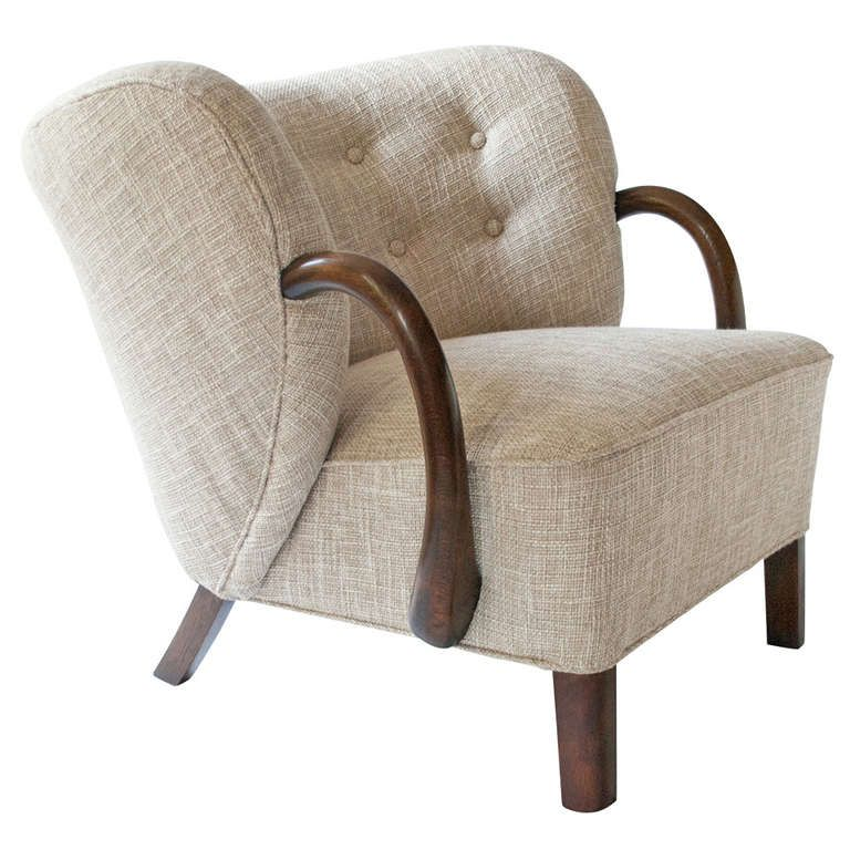 danish art deco upholstered armchair with stained oak details in rh pinterest com
