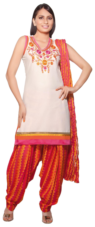 Trishaa Women's Salwaar Kameez Set Embroidered Neck line