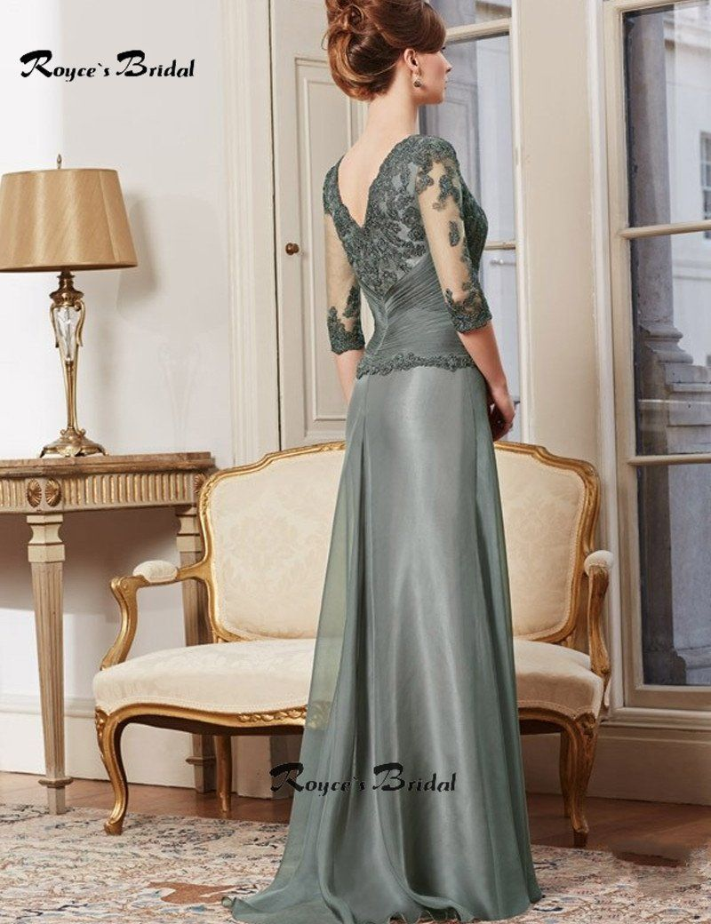 Classic grey long mother of the bride dresses scoop wedding guest