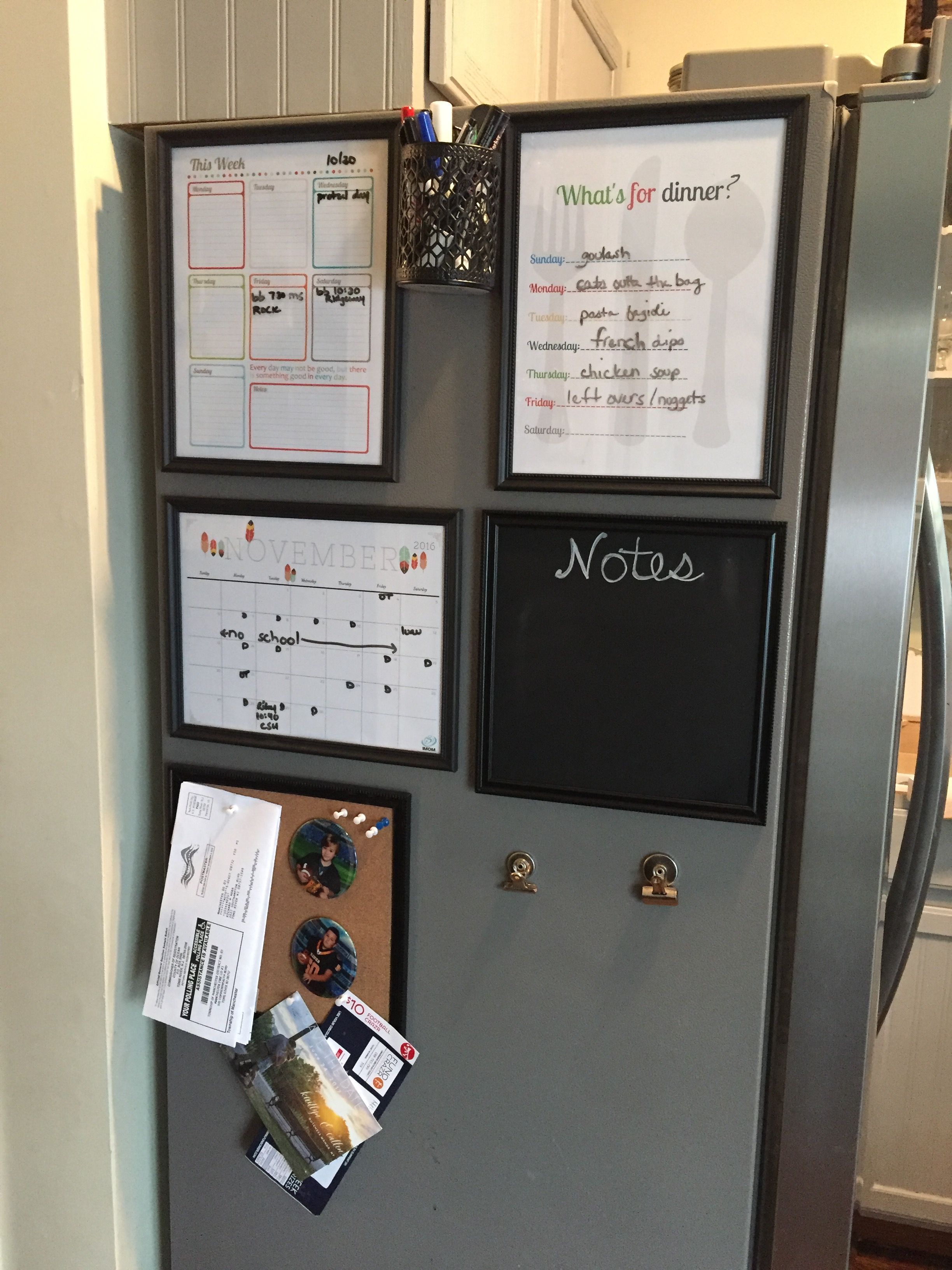 Refrigerator command center. Dollar tree frames and free printables ...