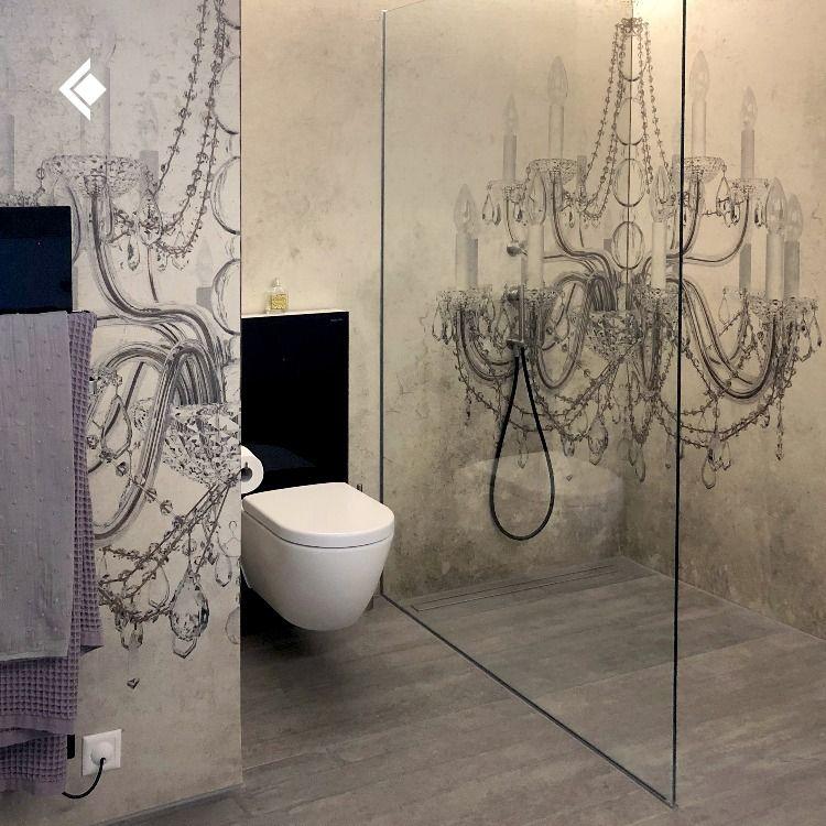 Badezimmer Mit Individueller Tapete Keine Fliesen Badgestaltung Mauerabdeckung Badezimmer Tapete