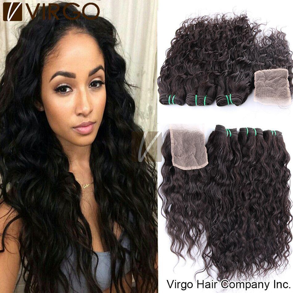 Brazilian Virgin Hair Water Wave With Lace Closure Weave Bundles 1pc