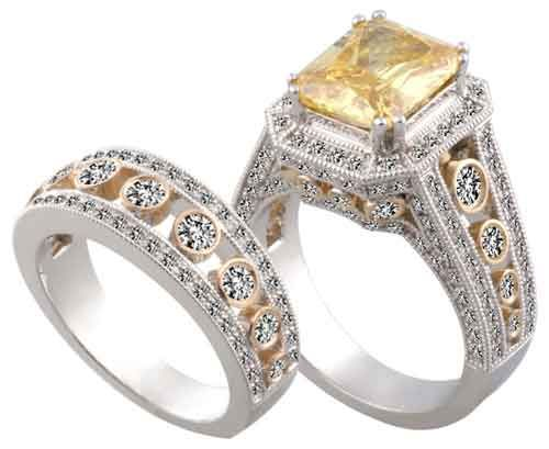 Yellow Topaz Diamond Engagement Ring