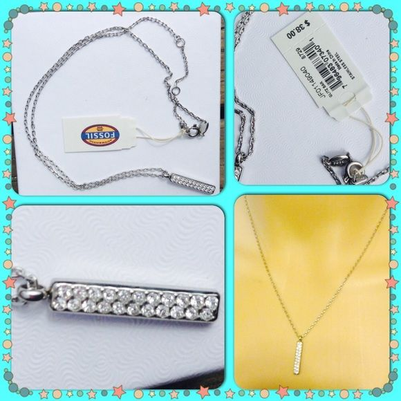 """Fossil necklace Has 3 different size adjustments longest is 18"""" and then the pendent is a little less then 1"""" stainless steel NWT Fossil Jewelry Necklaces"""
