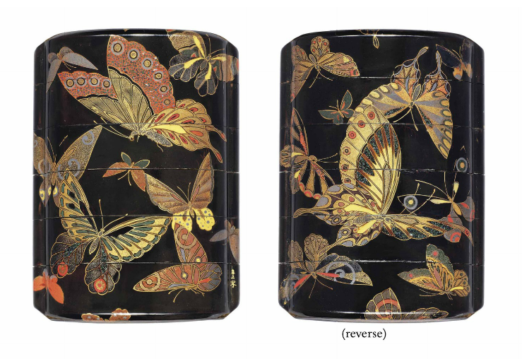 A Five-Case Inro Signed Shunsho sha, Edo period (18th - 19th century) Decorated in iroe-togidashi-e and powdered mother-of-pearl with butterflies, dense nashiji interiors, fundame rims