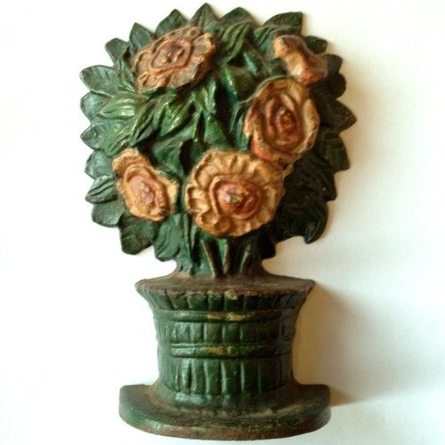 Antique-Cast-Iron-Doorstop-CAMILLIA-PLANT-Possibly-Albany-Foundry-ca-1920-NR
