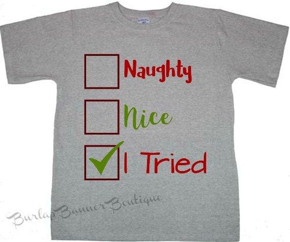 ecdf80fbe CHRISTMAS NAUGHTY NICE Holiday funny Shirt T shirt Toddler Youth Kids  Saying Graphic Shirt