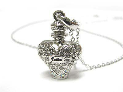 White gold plating crystal miniature perfume bottle pendant necklace