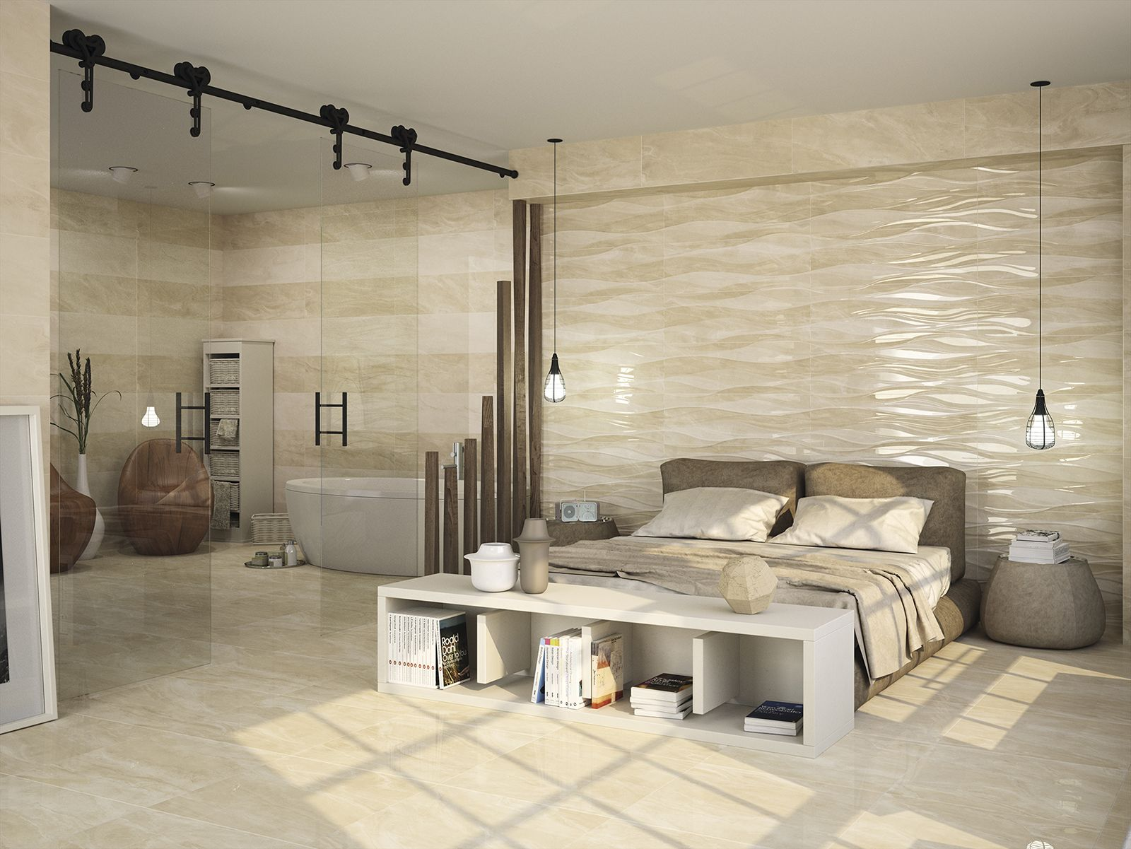 Dune Imperiale Brezza a decorative waved relief wall tiles Their
