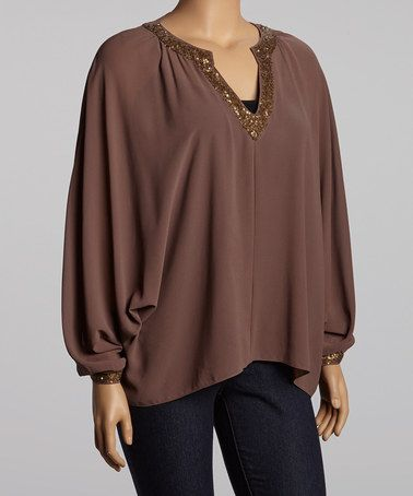 Take a look at this Mocha Beaded V-Neck Top - Plus by Totally Trendy: Plus-Size Apparel on @zulily today!