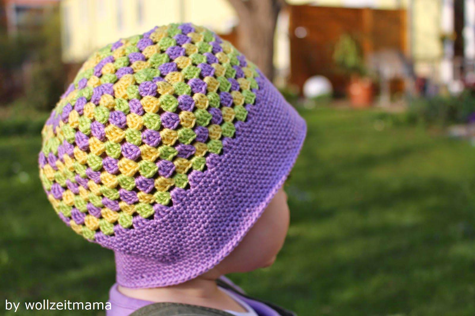 dreifarbige Mütze für Kleinkind häkeln im Granny Square Muster ...