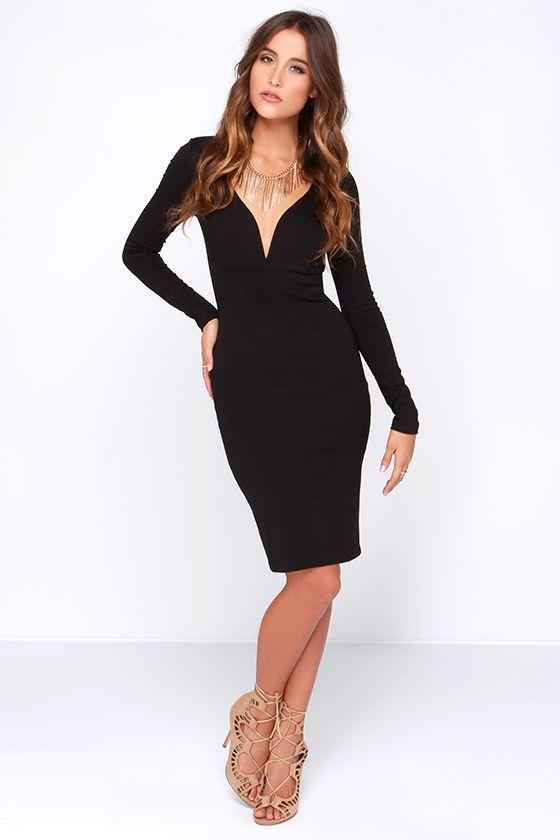 Impressive Demeanor Black Long Sleeve Dress Long Sleeve Plunge Dress Black Long Sleeve Dress Dresses