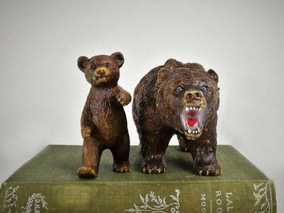 Leonardo DiCaprios worst nightmare...... Lol. Vintage Brown Grizzly Bear And Baby Cub Set/Pair Model Toy Animals Replica Figurines AAA by Misinterpreted on etsy