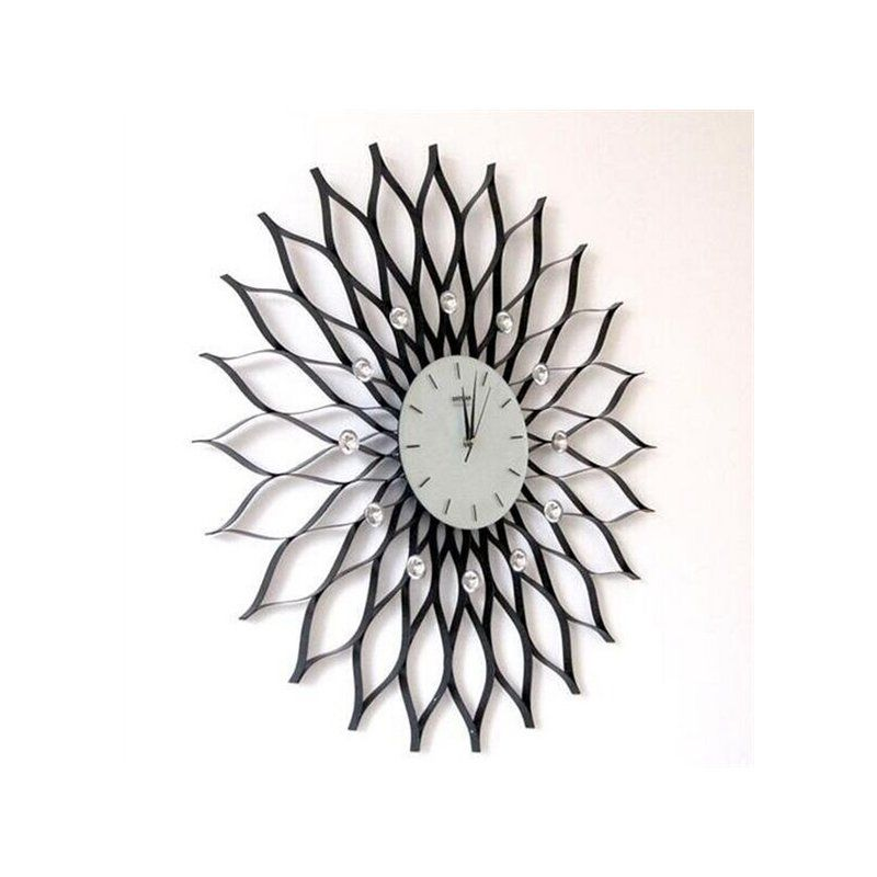 Home Decor Decorative Clocks Artistic Metal Wall Clock Artistic Wall Clock In Floral Featured Design Wall Clock Metal Wall Clock Clock Decor