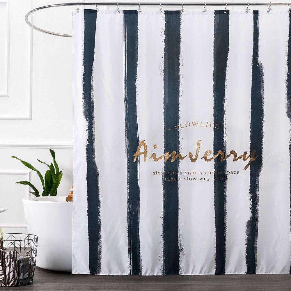 Aimjerry Black And Gold Striped Fabric London Bathroom Bathtub