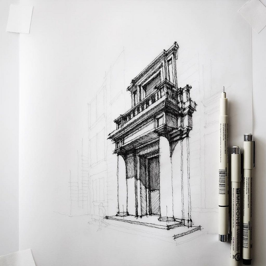 Architectural Drawing Sketch half #sketch #drawing #architecture | drawing architecture