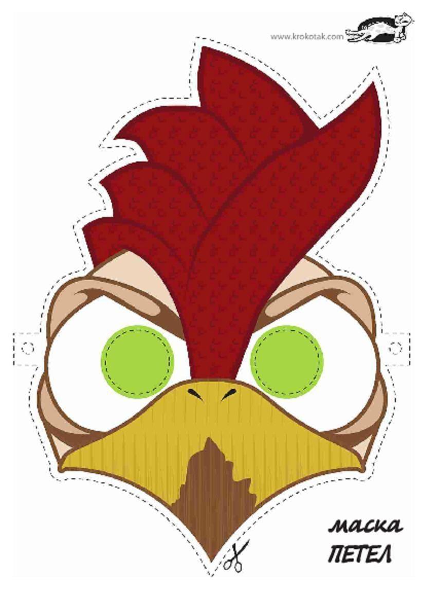 printable rooster mask printable masks for kids pinterest