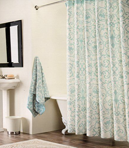 Tahari Shower Curtain Blue Damask Scroll Medallions on Wh... http ...