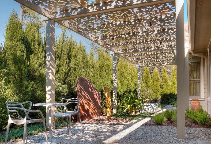 A Wall Of Cypress Trees Borders A Houston Patio   Decoist