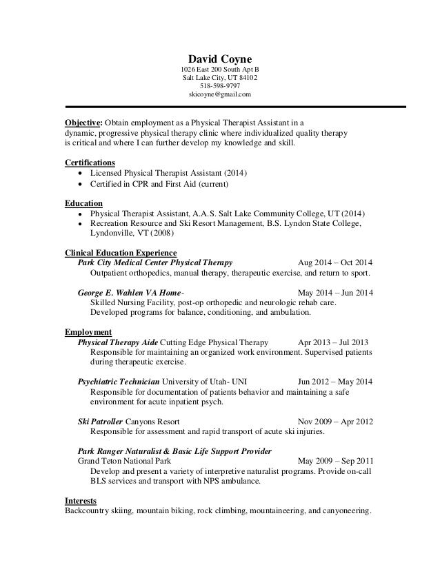 pta resume seeking position physical therapist assistant utilizing - park ranger resume