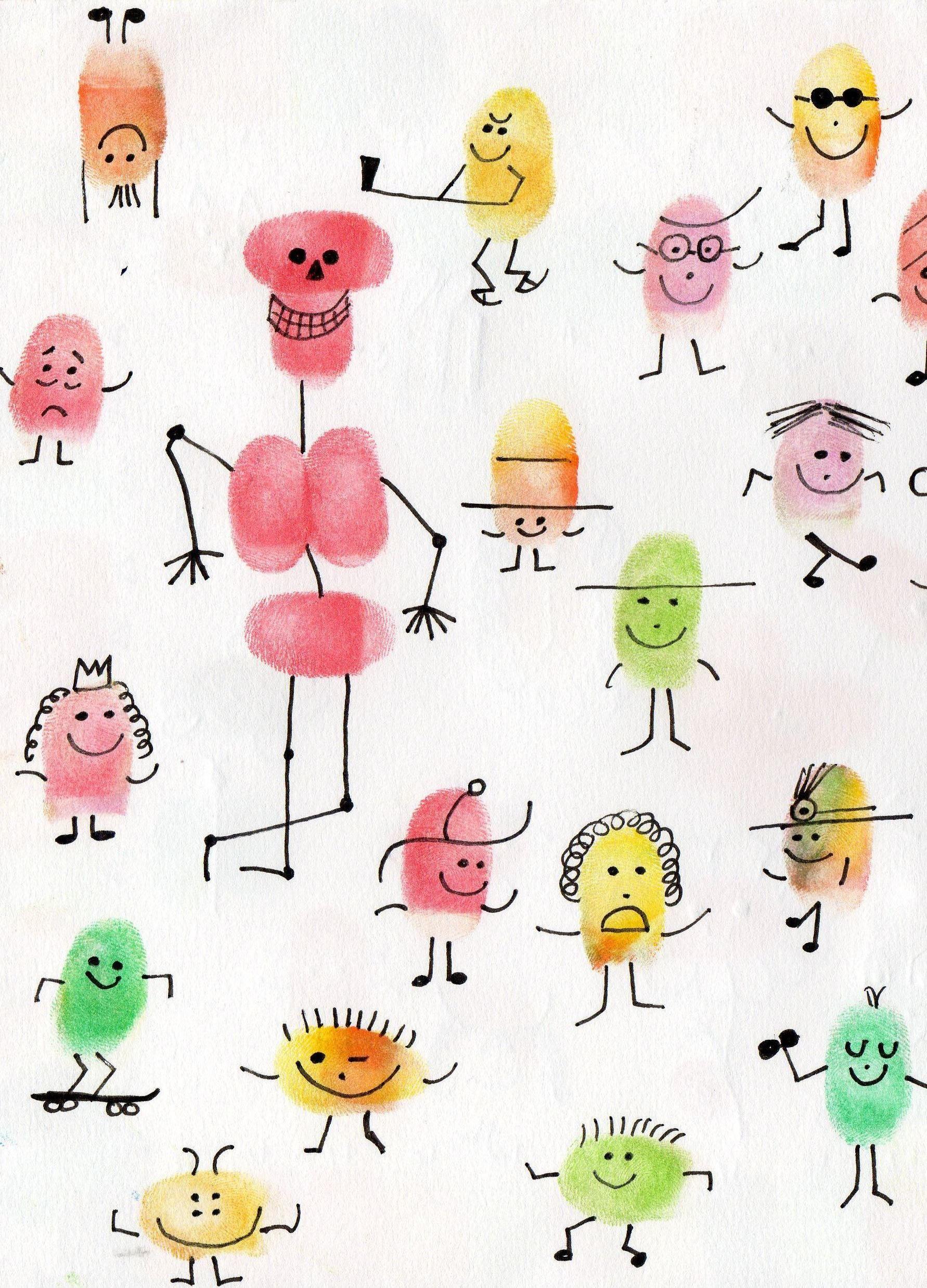 Les personnages avec les empreintes des doigts mariage pinterest empreinte les - Peinture main enfant ...