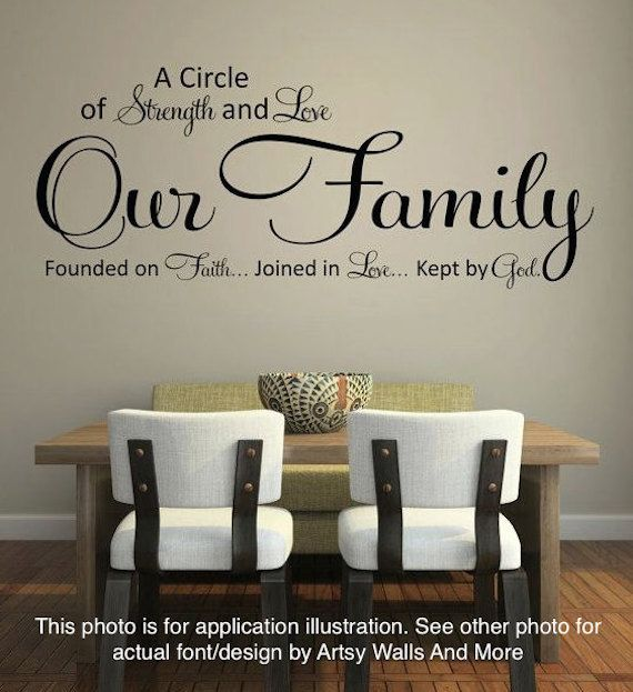 Our Family: A Circle of Strength and Love Wall Quote, Vinyl Decal Sticker, Kitchen Wall Vinyl decal, Dining Room Wall vinyl decal Sticker by ArtsyWallsAndMore on Etsy