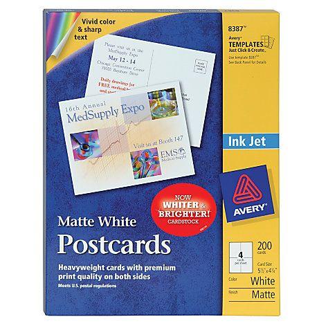 Avery Inkjet Postcards 4 14 X 5 12 White Box Of 200 By Office Depot Officemax Printable Postcards Avery Printable Postcard
