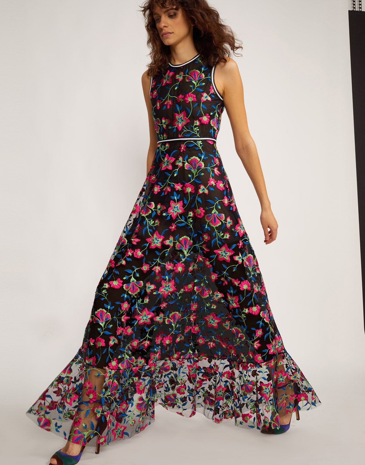 Three Quarter View Of The Embroidered Mesh Maxi Dress Floral Embroidered Dress Spring Maxi Dress Party Dresses For Women [ 1600 x 1258 Pixel ]