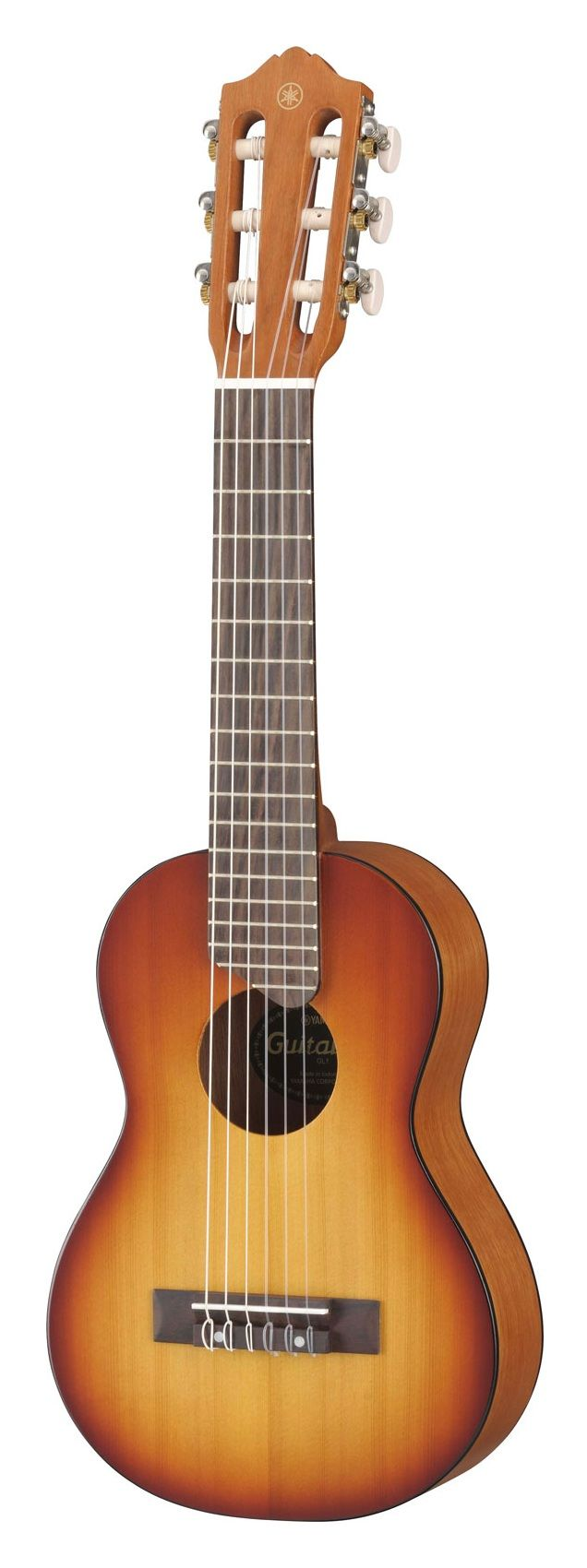 Yamaha GL1 Guitalele (Tobacco Sunburst), a classical guitar/tenor ukelele hybrid I bought on a whim. I tuned it to Open A Minor instead of the suggested AEGBEA tuning and tried it out with a slide and without. Not bad for around $70. :)