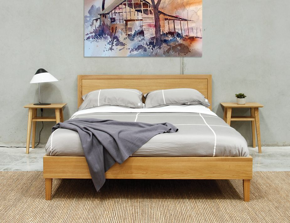 Copenhagen Queen Size Solid European Oak Bed Frame by Bent