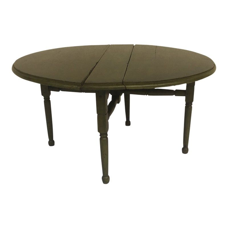 miniature small vintage shabby chic boho round green drop leaf side table coffee table vintage on boho chic kitchen table id=85487