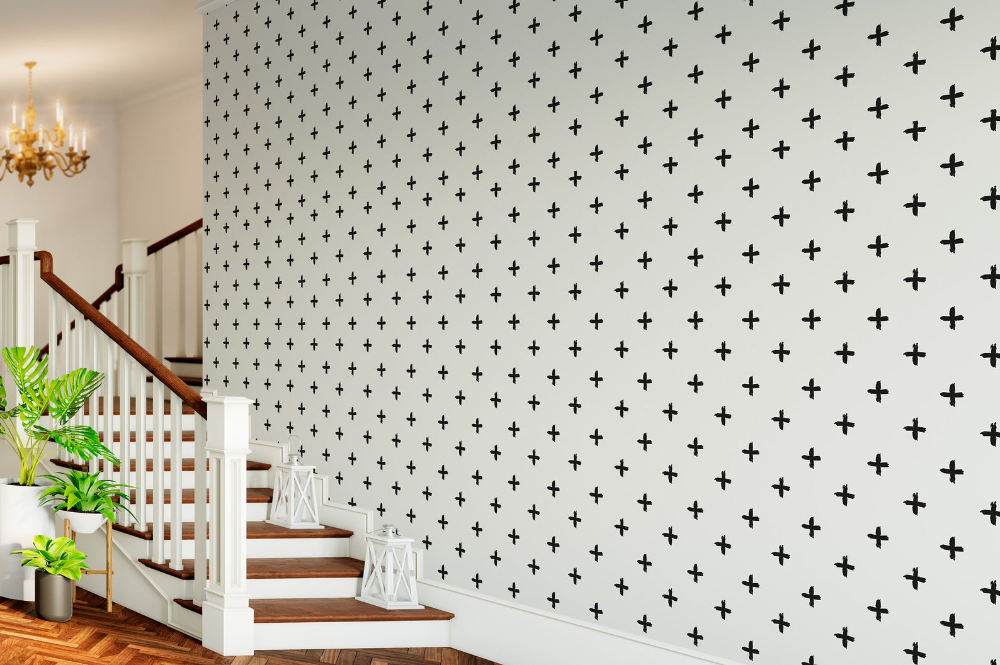 Cross Black And White Wallpaper Home Decor Wall Art Black Etsy Black And White Wallpaper White Wallpaper Removable Wallpaper