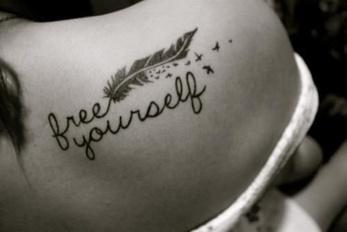 Really wanting to do something with the feather that turns into the free yourself tattoo quotes on shoulder feather tattoo for girls the unique diy tattoo quotes which makes your home more personality solutioingenieria Images