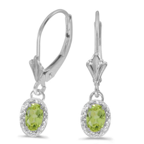10k White Gold Oval Peridot And Diamond Leverback Earrings * Check out the image by visiting the link.