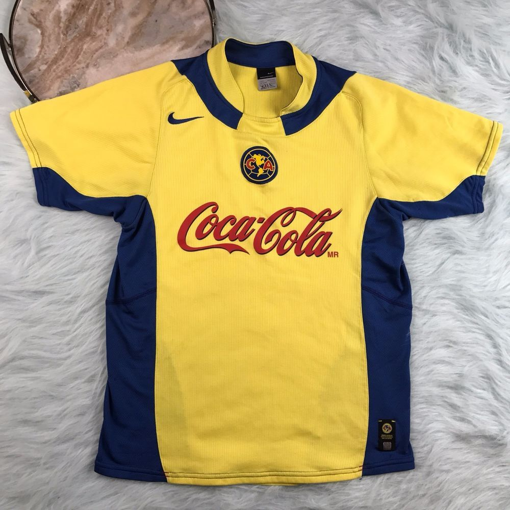 e9c38da64 Nike Mens Large Yellow Blue Club America Coca Cola Corona Soccer Jersey G38