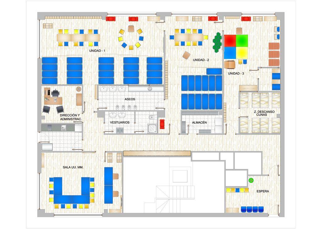 Plano a color de distribuci n y mobiliario para guarder a for Mobiliario para planos