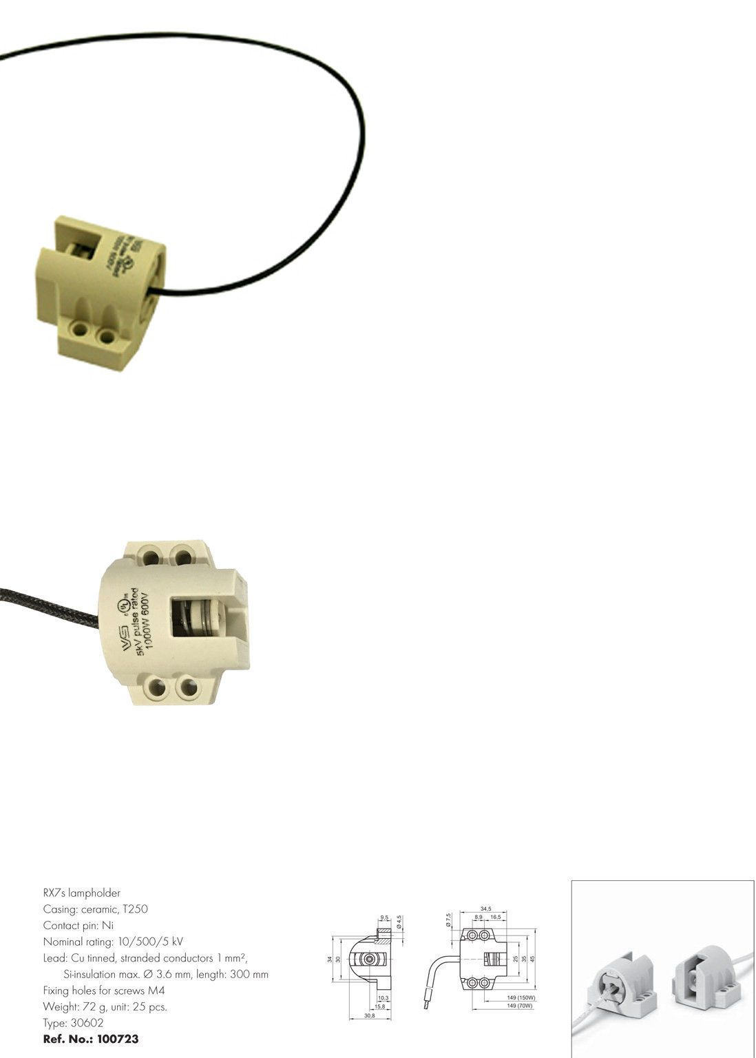 Tanning Bed Facial Lamp Holder Socket 400w Ets 20210 Ceramic R7s Wiring Other Sun Protection And 29583