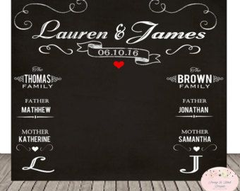 Personalized Wedding Chalkboard Photo Booth Backdrop Poster Sign 84x96