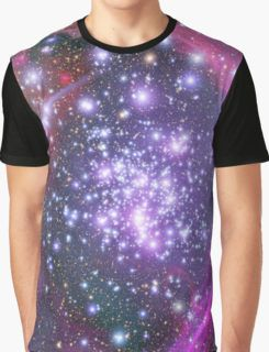 Purple Galaxy and Stars Graphic T-Shirt