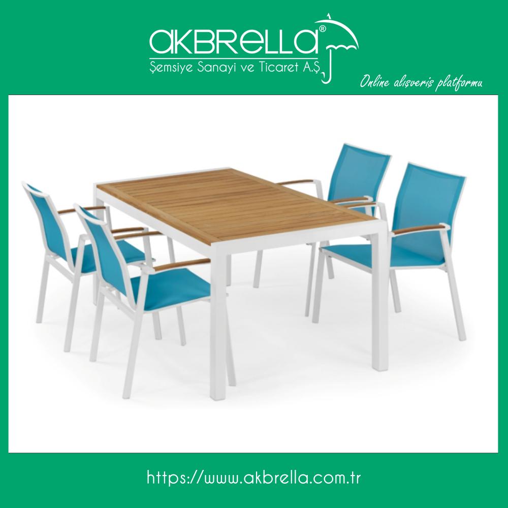 denizci mavisi file kumas ile doseli oldukca gosterisli aluminyum beyaz iskeletli 4 adet sandalye ve teak masa takimi ve bu benzeri bir c teak sandalye mobilya