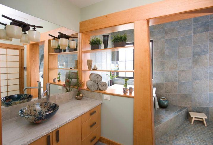 Créer un style japonais dans une salle de bain | Salle de ...
