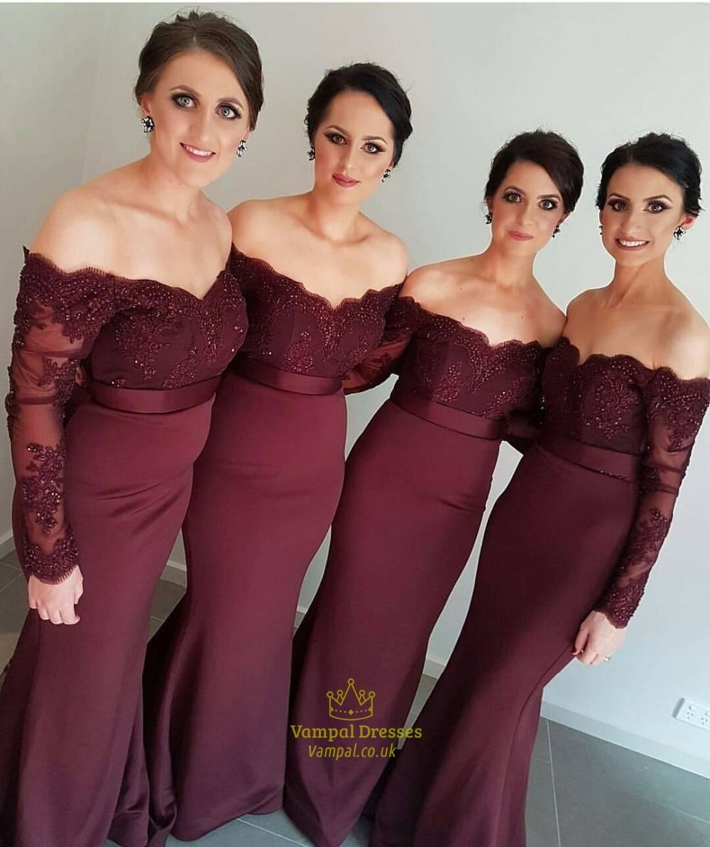 Burgundy lace off the shoulder sheer sleeves mermaid bridesmaid burgundy lace off the shoulder sheer sleeves mermaid bridesmaid dress ombrellifo Choice Image