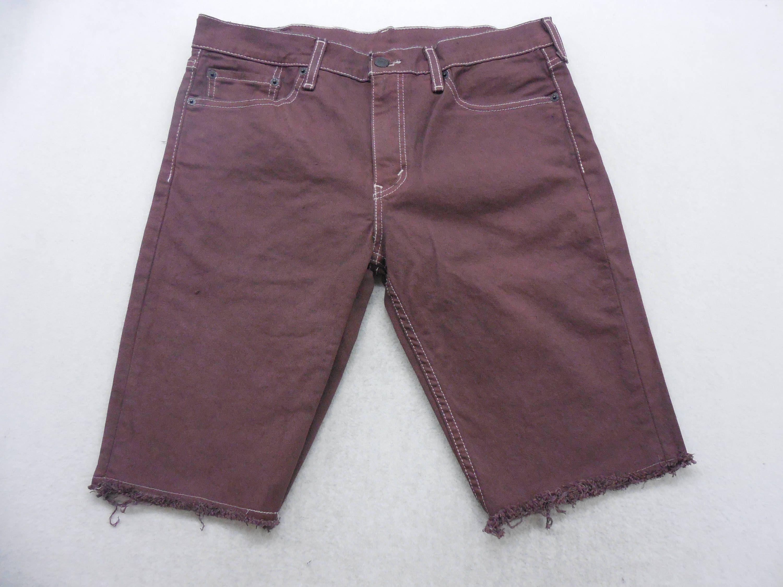 Mens Burgundy Dyed Denim Levi's 511 Cut Off Bermuda Jean Shorts ...