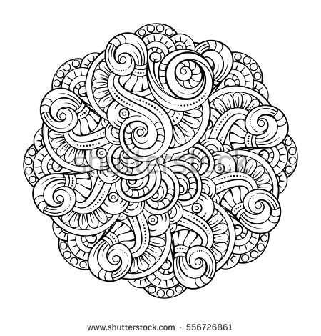 Vector abstract black and white mandala pattern. | Орнамент ...