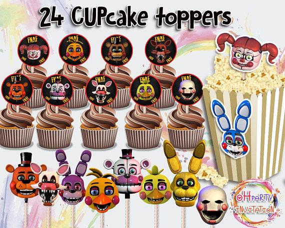 24 Fnaf Centrepieces Printables Five Nights At Freddys Cupcake