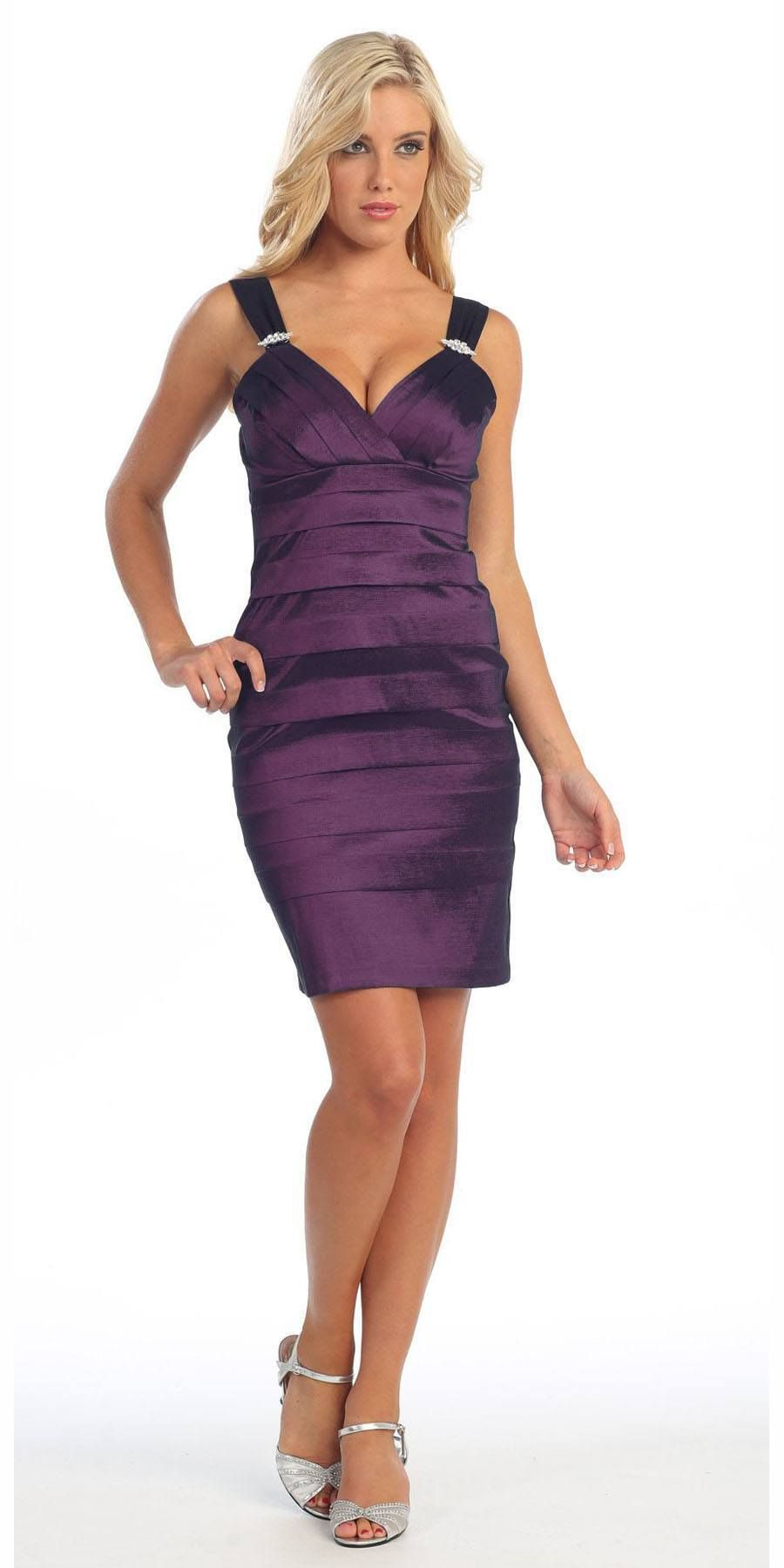 CLEARANCE - Tight Fit Plum Cocktail Dress Pleated Wide Straps Short ...