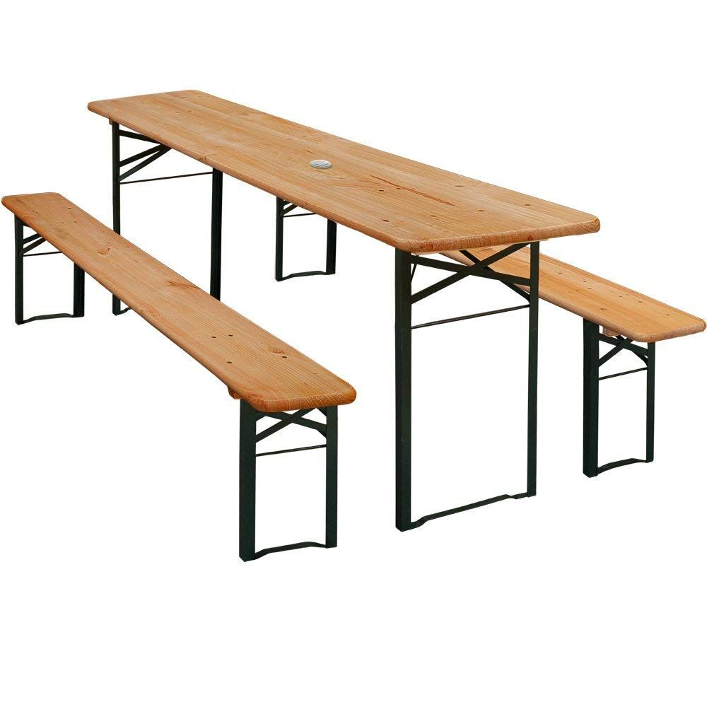 Wooden Outdoor Party Table Set 2x Benches W Parasol Hole German Beer Garden Furniture Heavy Duty Folding Trestle Table And Bench Set Beer Table Bench Set