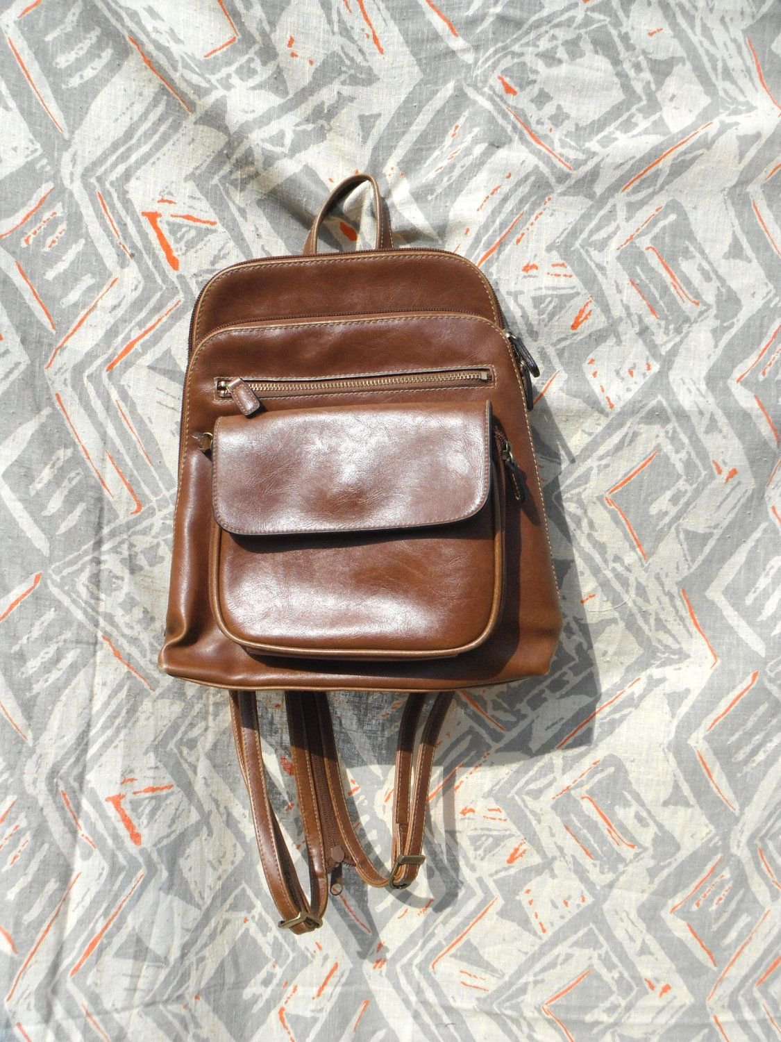 de880ffad2d1 90s mini backpack back pack brown faux leather chestnut