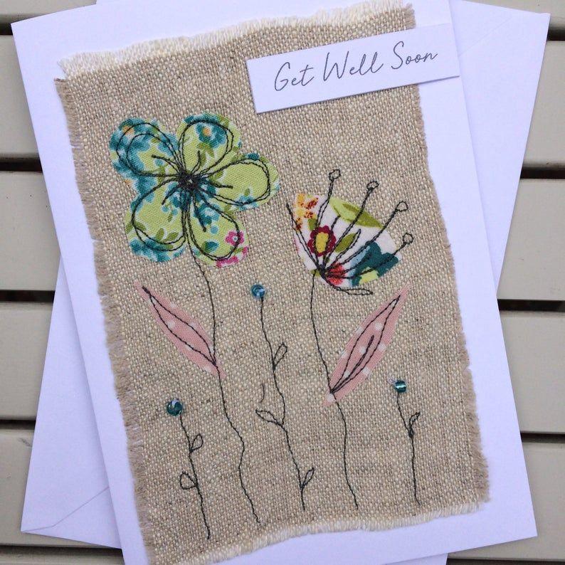 get well soon card handmade fabric card get well soon card