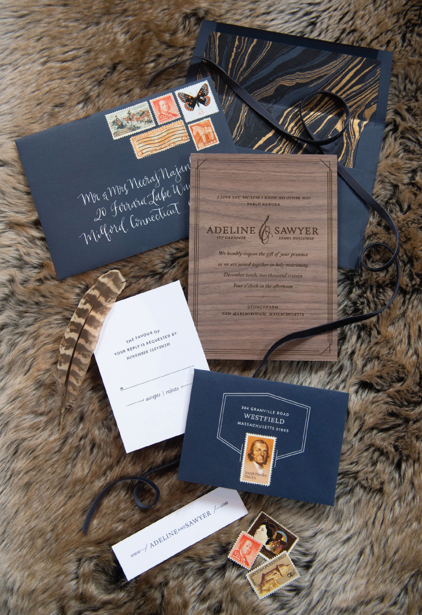 Bliss Celebrations wedding invitation suite designed by